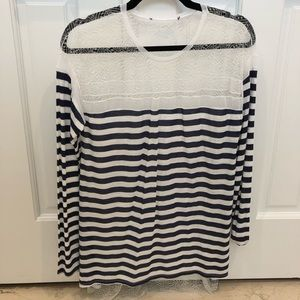 BCBG striped top with mesh back